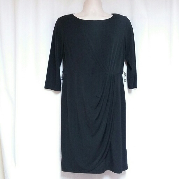 AGBDress Dresses & Skirts - Black Faux Wrap-Style Dress by  ABGDress Size 12
